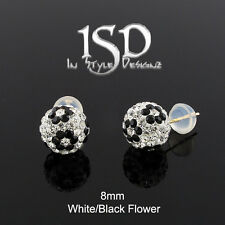 14k Gold 8mm Womens Austrian Crystal Ball White Black Flower Studs Earrings