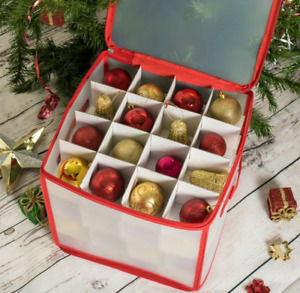 Christmas Ornament Storage Box 64 Spaces Xmas Decoration Organizer  30x30x30cm
