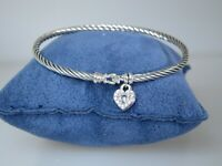 DAVID YURMAN 3MM HEART LOCK CABLE STERLING SILVER DIAMOND BANGLE BRACELET