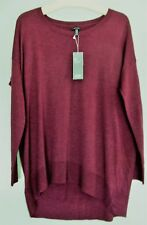 NWT Eileen Fisher Oversized 100% Merino Wool Pullover in Cranberry in Size XS