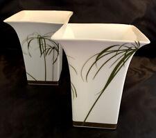 "Pair Of Rosenthal Classic/Christian Tortu 9.5"" Sq.  Porcelain Mantle Vases"