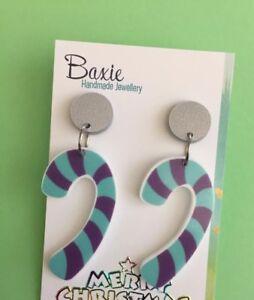 Christmas Candy Cane Dangle Earrings, Resin,  Acrylic, Surgical Steel Stud