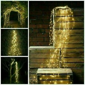 Solar / Battery LED Icicle Waterfall String Fairy Lights Outdoor Hanging Lamps