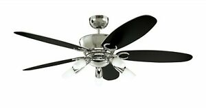 """Ceiling fan with 5 lights and remote Westinghouse ARIUS Chrome 132cm / 52"""""""