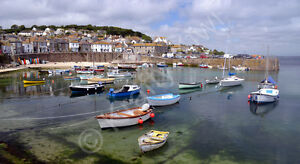 Mousehole Harbour Cornwall Photo Canvas 12 x 22 inch panoramic (UK)