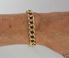 "Vintage Mens Womens 18K Yellow Gold Link Bracelet 8.5"" Length x 5/16"" Width"