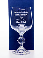 Engraved BIRTHDAY BUTTERFLY Claudia Wine Glass Gift Mum/Nanny 60th/65th/70th