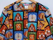 Dogs Hound Shaggy Perky Smiley... Nurse Vet Snap Scrub Jacket Long Sleeves EUC