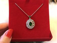 New Russian Diopside And White Topaz Necklace