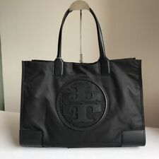 TORY BURCH Ella Tote Black Nylon Leather Handbag Large Shoulder Bag Authentic