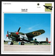 Sweden Saab 18 Light Bomber Warplane Card - I Combine S/H