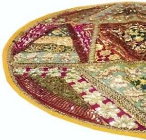 "40"" YELLOW VINTAGE SARI ART DÉCOR THROW FLOOR ACCENT BED CUSHION PILLOW COVER"