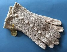 So Sweet!!! FALBALA Vintage Cream Silver Sparkly Crocheted Gloves Made In France