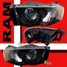 02-05 Dodge Ram 1500 2500 3500 Pickup Black Headlights RH + LH