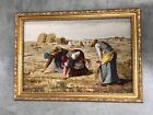 GORGEOUS LARGE TAPESTRY of famous painting - The Gleaners - w/ GILT GOLD FRAME