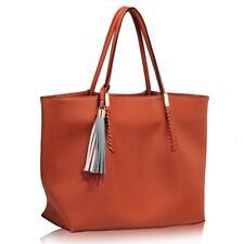 Large Designer Tote Shoulder Bag with Tassel in Tan