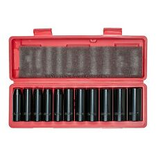 "New KING 12pc 1/2"" Drive Deep Impact Socket Set SAE, 6-Point CR-V Steel, W/ Case"