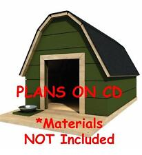 """37"""" x 48"""" Dog House Plans - Gambrel Roof - Pet Size To 150 lbs - Large Dog - 10"""