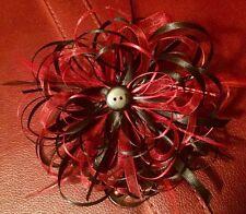 Ribbon Flower Pin Red & Black