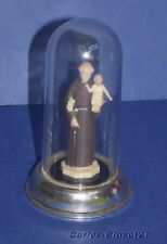 "VINTAGE ITALIAN ST ANTHONY FIGURE * In Plastic Dome * Italy * 4.25"" (11cm) Tall"