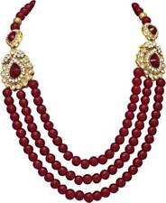 Maroon Pearl Gold Tone Indian Bollywood Groom Royal dulha Mala chaîne 3 Bijoux