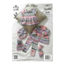 King Cole Knitting Pattern Baby Set Hats and Tops Knitted with Cherish DK 4011