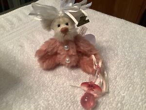 Annette Funicello Mohair Bear Pinky and Her Binkie Pink Cream 5 in Pacifier