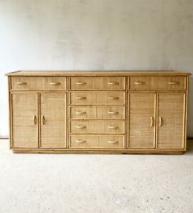 Vintage Rattan And Bamboo Sideboard
