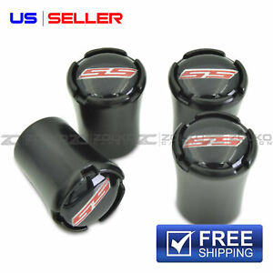 Black SS Tire Stem Valve Caps Wheel Tire Valve Stem Air Caps Covers and Wrench Keychain for Chevrolet Camaro Chevy
