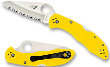 SPYDERCO Salt 2 Serrated Edge Nitrogen Based H-1 Blade Yellow FRN Handle C88PYL2