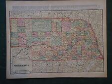Vintage 1900 NEBRASKA Map ~ Old Antique Original Atlas Map 101418
