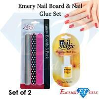 Zazie Emery Board 3 pack & Nail Magic Glue Set 7g(Set of 2)