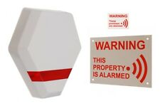 Compact Solar Powered Dummy Alarm Siren - Flashing LED's & Warning Signs.
