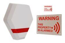 Compact Solar Powered Dummy Alarm Siren - Flashing LED's & Warning Signs.