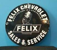 VINTAGE FELIX CAT TOP HAT CHEVROLET PORCELAIN BOW-TIE GAS TRUCKS SERVICE SIGN