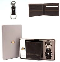 Fossil Men's Bi-fold Wallet with Key chain Black Brown Leather Gift set for Him