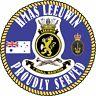 HMAS LEEUWIN PROUDLY SERVED UV LAMINATED VINYL STICKER 110MM DIA  RAN