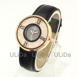 New Women Dress Watches Rhinestone Dial Leather Band Lady Crystal Quartz Watch