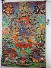 altes Mahakala Buddha Götter Thangka  Seide Papier Holzdruck 90cm Tibet *1970