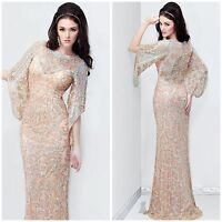 NWT PRIMAVERA COUTURE 9713 LONG SLEEVE BEADED RATRO GOWN IN NUDE $432 AUTENTIC