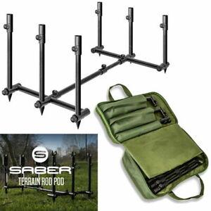 Saber Terrain Pod 2 / 3 Rod Pod Lightweight Adjustable Carp Fishing Buzz Bar
