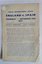 England v Spain Youth International football programme -  Sept 1957