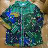 CABI BRONCO BLUE GREEN FLORAL WESTERN STYLE BLOUSE M