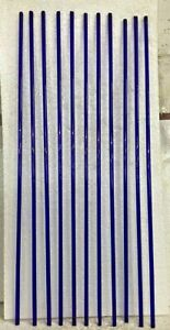 VINTAGE OLD VENITION BLUE GLASS STICK FOR WINDOW / DOOR 36'' INCH, 11 PC