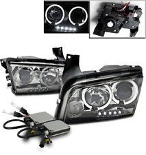 2006-2009 DODGE CHARGER SMOKE SET HALO LED PROJECTOR HEAD LIGHTS+6000K XENON HID