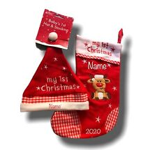 Personalised My 1st Christmas Hat And Stocking Reindeer Set Any Name & 2020