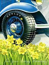 ADVERT CAR AUTOMOBILE TYRES CLASSIC RUBBER DAFFODIL ART PRINT POSTER BB6702