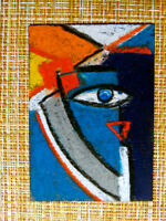ACEO original pastel painting outsider folk art brut #010272 abstract surreal
