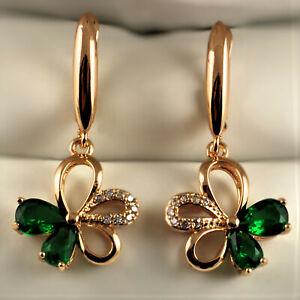 18ct Gold Filled Green Clear CZ Crystal Flower Dangle Drop Earrings UK Gift Idea