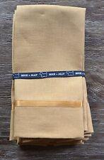 Set of 6 Mike & Ally Linen Finger Tip Guest Towels, Caramel Gold